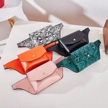 Fashion Casual Snake Print Sports Square Shoulder Crossbody Bags Women Waist Fanny Belt PU Chest Bag