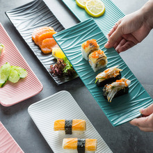 Nordic Ceramic Rectangular Sushi Long Plate Dessert Cake Snack Pastry Western Food Salmon Sashimi Grilled Chicken Wings Plate