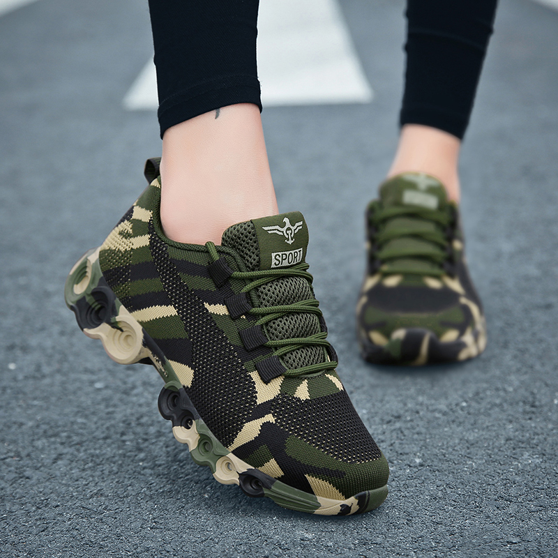 Camouflage Fashion Sneakers Women Fly Knit Breathable Casual Shoes Men Army Green Trainers Plus Size 35-44 Lover Shoes NX018