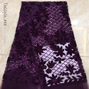 Image 2 - Nigerian Lace Fabric 2019 High Quality Sequin Velvet Lace Fabric Fuchsia Embroidered Tulle African Velvet Lace Fabric