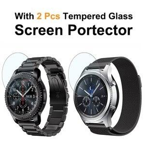 Image 2 - 22mm uniwersalna pętla Milanese do Samsung Gear S3 Classic/S3 Frontier/galaxy watch 46mm regulowany pasek ze stali nierdzewnej