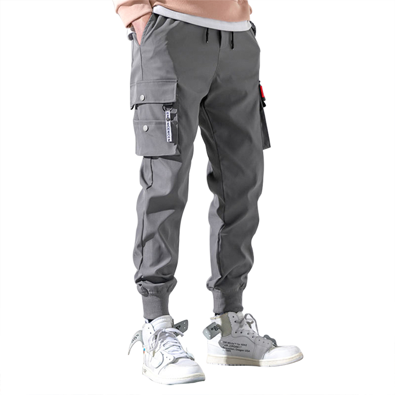 Jececer Men?s Harlan Pants Loose Relaxed Casual Trousers Slim Hem Long Pants Men Joggers Sports Ankle Length Pants with Pockets