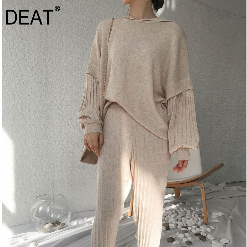 DEAT Leisure Lantern Sleeve V Neck Loose Plus Size Solid Sweater Striped Full Pants Two Piece Set 2020 Spring Winter New TD639