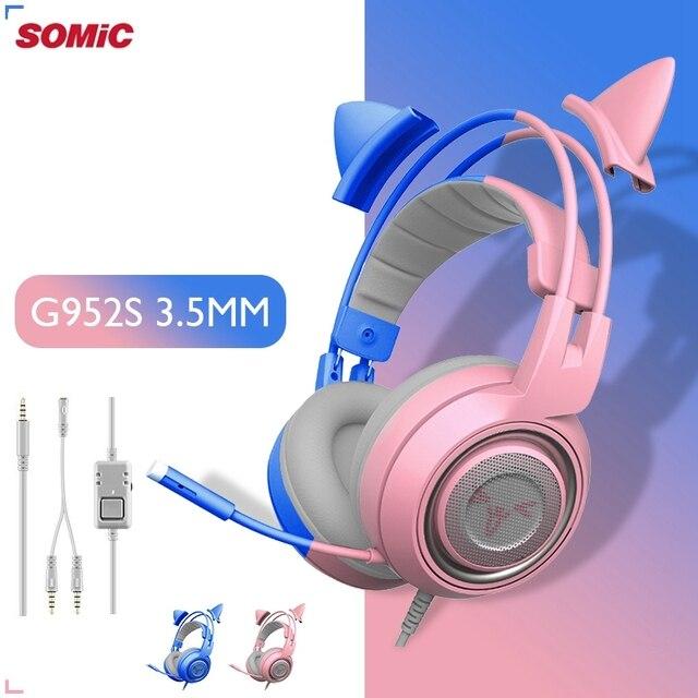 SOMIC Pink Cat 헤드폰 PC 게임용 헤드셋 게이머 3.5mm Bass 유선 게임용 헤드셋 진동 헤드셋 (PC 컴퓨터 용 마이크 포함)