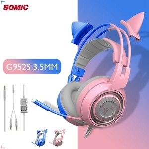 Image 1 - SOMIC pembe kedi kulaklık PC oyun kulaklığı oyun 3.5mm bas kablolu oyun kulaklığı titreşim mikrofonlu kulaklık için PC bilgisayar