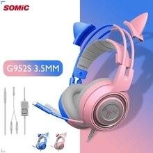 Somicピンク猫pcゲーミングヘッドセット3.5ミリメートル低音有線ゲーミングヘッドセット振動ヘッドセットpcコンピュータ