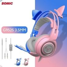 fone de ouvido SOMIC G951S Rosa Cat Headphones 3.5mm Cancelamento de Ruído HiFi Headset Gaming Com Fio Headset Vibração Headset Dinâmico com Microfone 2.2M para PC Jogo de Computador