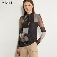 AMII Minimalism Autumn Fashion Printed Women Shirt Tops Causal Slim Fit Full Sleeve Female Shirt 12020352