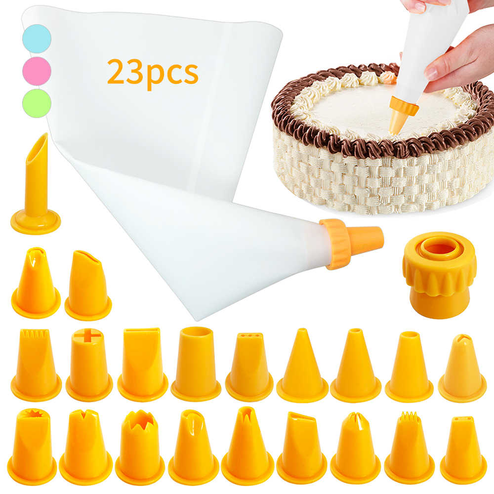 23CS/セットシリコーン菓子袋のヒントキッチンdiyアイシング配管クリーム再利用可能な菓子バッグノズルセットケーキデコレーションツールステンレス