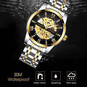 Image 4 - Lavaredo Top Brand Luxury Retro Stainless Steel Men Watch Sport waterproof  Automatic Mechanical Skeleton Watches Cool Design A5