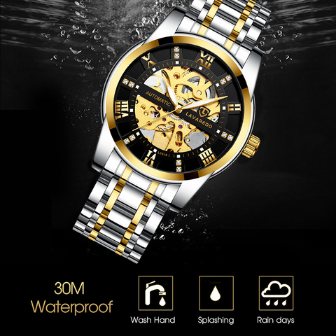 Lavaredo Top Brand Luxury Retro Stainless Steel Men Watch Sport waterproof  Automatic Mechanical Skeleton Watches Cool Design A5 Islamabad