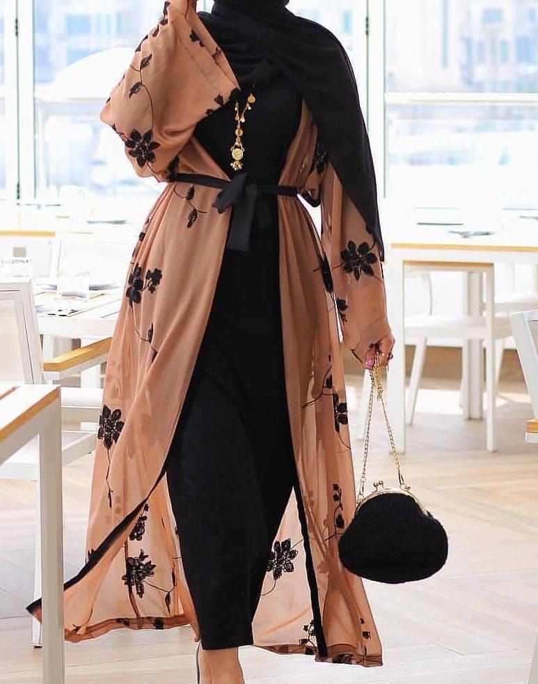 Elegant Muslim Print Abaya Cardigan Maxi Dress Kimono Long Robes Female Vestidos Middle East Ramadan Turkish Islamic Prayer