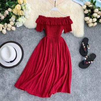 New Women Summer Dresses Plaid Slash Neck Off Shouder Solid Vestidos 2020 Ruffles A-line High Waist Dress Robe Feminino Vestido