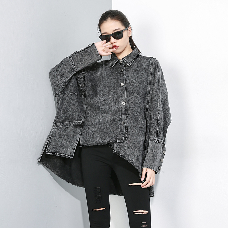 Asymmetric Denim Coats For Women Autumn Loose Snow Coat Women Cardigan Loose Jeans   Trench   Coat Windbreaker Femme SA114S30