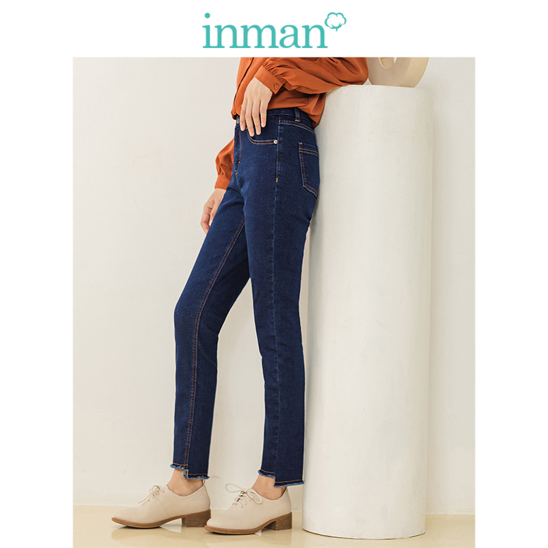 INMAN 2019 Winter New Arrival Medium High Waist Elastic Cotton Slim All Matched Women Jeans