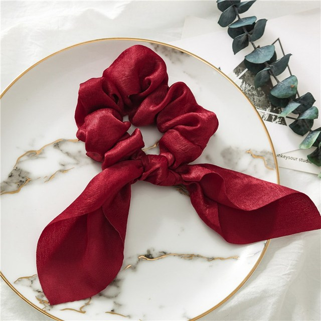 New Chiffon Bowknot Elastic Hair Bands For Women Girls Solid Color Scrunchies Headband Hair Ties Ponytail Holder Hair Accessorie 3