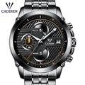 Reloj de pulsera de acero inoxidable para hombre, reloj militar de cuarzo, reloj deportivo de negocios, calendario impermeable de 3 Atm luminoso
