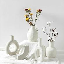 Керамическая Настольная Ваза в скандинавском стиле ваза с геометрическим