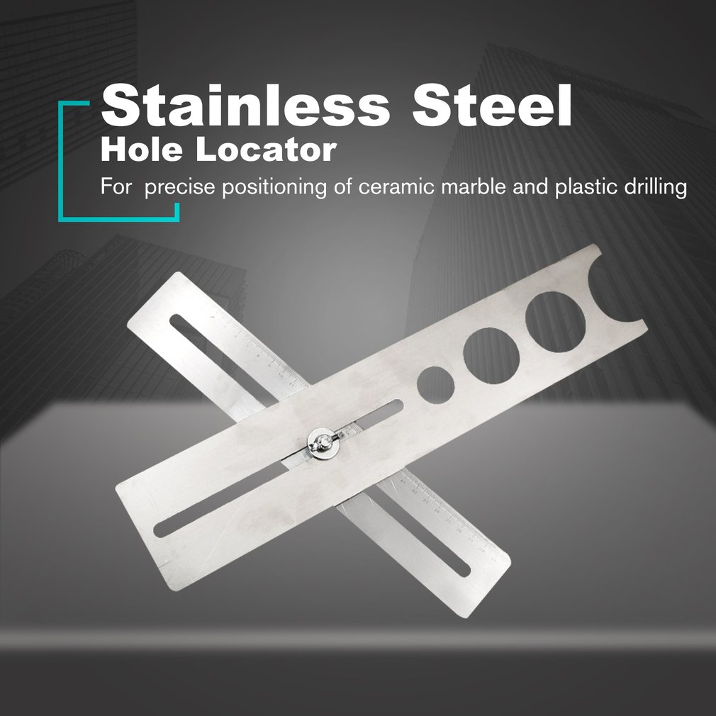 Tile Hole Puncher Locator Stainless Steel Puncher Tapper Drilling Hole Adjustable Tile Locator Position Ruler Accessories|Hand Tool Sets| |  - title=