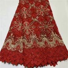 Último encaje nigeriano africana de encaje 2019 tela de encaje de novia rojo + color oro africano de alta calidad tejidos de encaje de diamante de imitación 5 yardas/lote