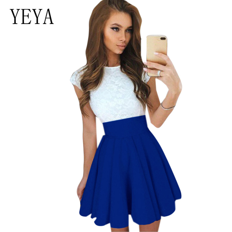 YEYA Summer Hollow Out Party Dress Vintage Lace Patchwork O Neck Runway Elegant Ladies Dresses Clothes for Women