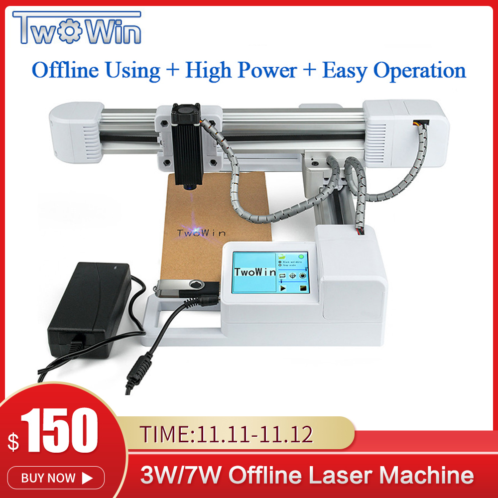 3W/7W USB Off-line Wood Router Milling Machine Area 155x175mm DIY Logo Printer Big Power CNC Laser Engraving Carving Machine