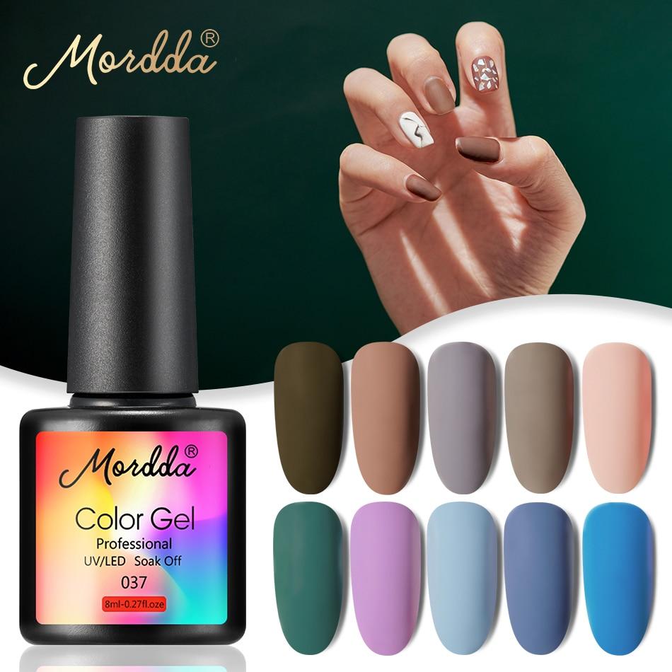 MORDDA 8 ML Gel Nail Polish Gel Varnish Semi Permanent UV LED Gel Nail Lacquer Soak Off Hybrid Gel Painting Need Matte Top Coat(China)