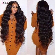 Длинные бразильские волнистые парики 28, 30, 32, 34, 36, 38, 40 дюймов, кружевные передние человеческие волосы, предварительно выщипанные парики Lolly ...