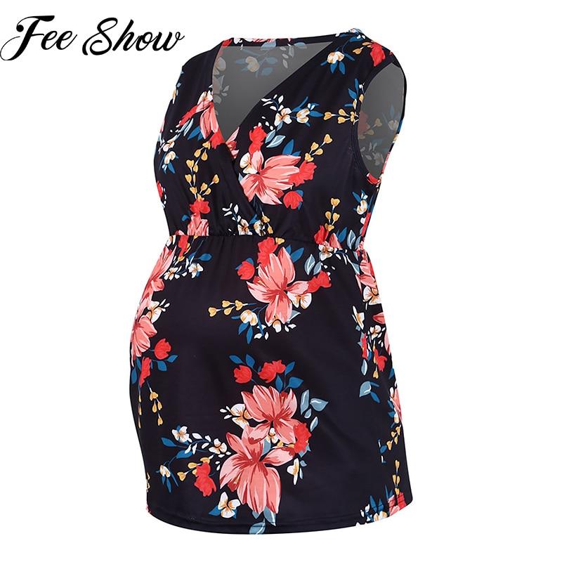 Maternity Blouses Summer Fashion V-Neck Sleeveless Floral Print T-Shirts Clothes for Pregnant Women Elegant Pregnancy Shirt Tops