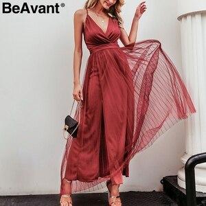 Image 4 - Beavant vestido de renda para festa, vestido de verão elegante rosa sexy para noite vestidos de festa decote em v cintura alta robe de malha femme 2020,