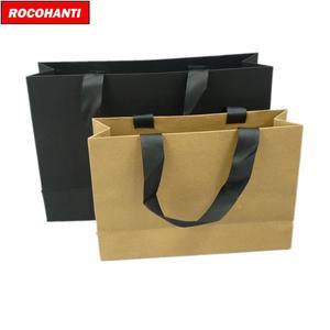 Image 2 - 100X מותאם אישית לוגו מודפס יוקרה בוטיק קניות נייר שקית מתנה עם סרט ידיות שחור חום לבן צבע
