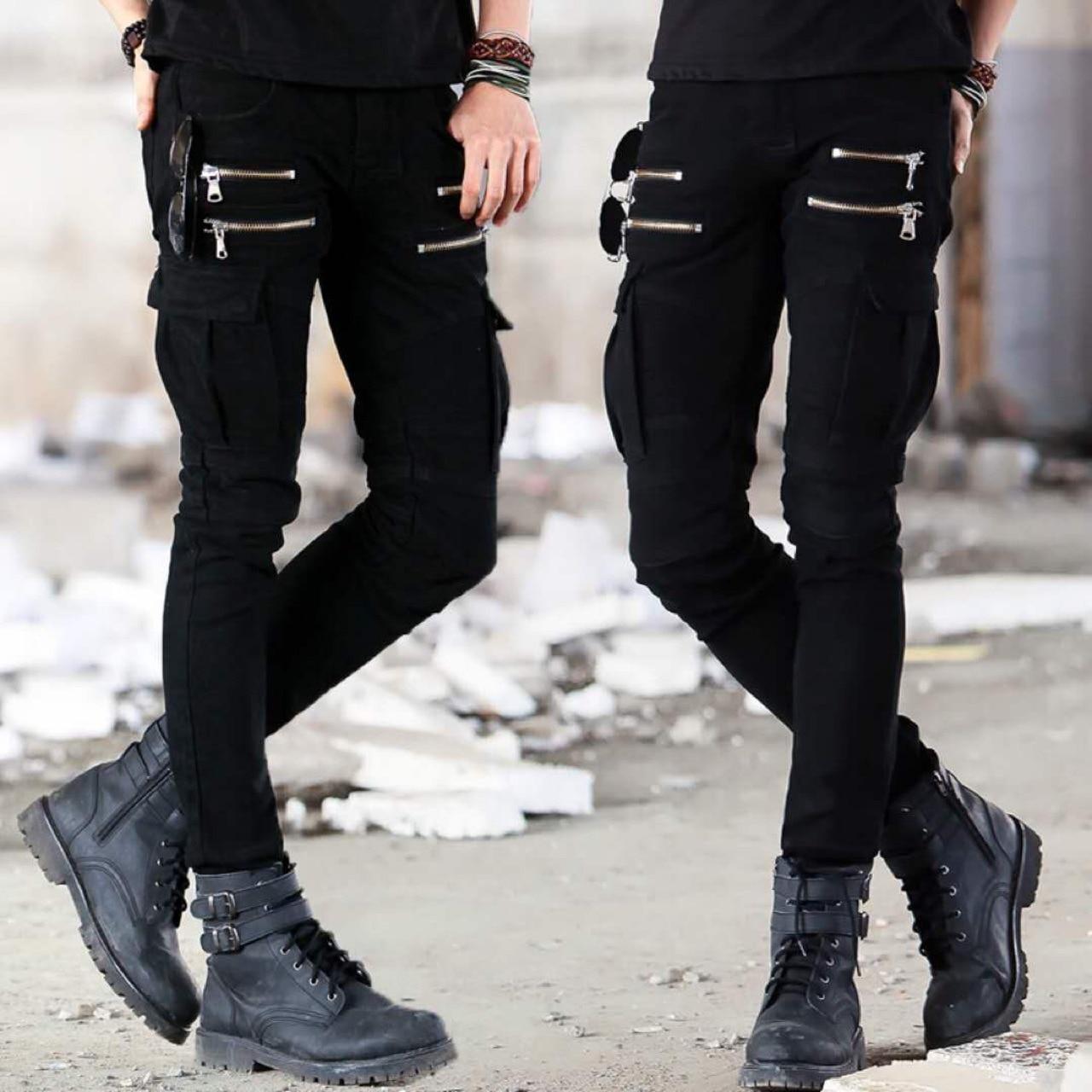 New Dropshipping Brand Hot Sale Denim Jeans Moto Biker Fashion Pants Black Jeans Hipster Stretch Leg Pleated Biker Pant