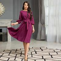 Frauen Vintage Laterne Hülse Schärpen A-line Kleid Hülse Mit Drei Vierteln O neck Soild Elegante Kleid 2019 Herbst Neue Mode Kleid