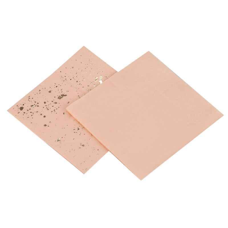 Nowy-złoto blokowanie różowy marmur tekstury jednorazowe zastawy stołowe zestaw papieru serwetki wesele karnawał zastawa stołowa disposabl