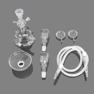 Image 4 -  Clear Design Glass Hookah Shisha Narguile Full Large Hookah Packed Nargileh with Silicone Hose in Foam Box