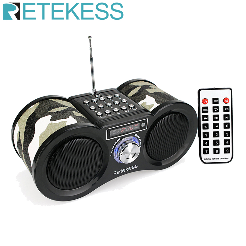 Retekess V113 FM Radio Stereo Digital Radio Receiver Speaker MP3 Music Player USB Disk TF Card Camouflage + Remote Control(China)