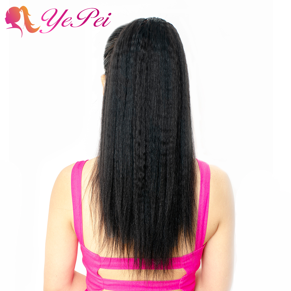 Kinky Straight Drawstring Ponytail Human Hair Brazilian Clip In Extensions Natural Color Remy Hair Yepei Pony Tail