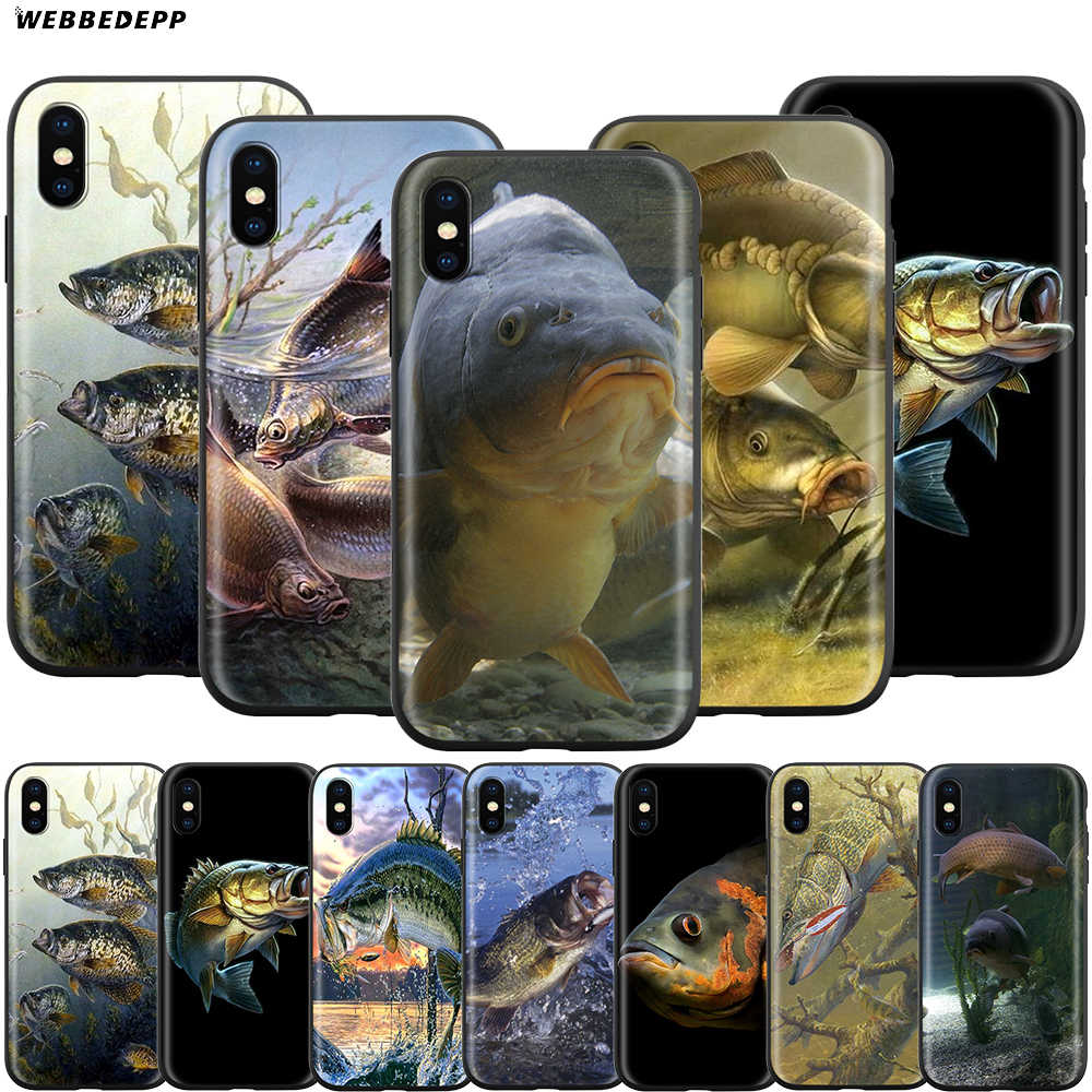 Pesca Da Carpa Webbedepp Case para iPhone Da Apple 11 XS Pro Max XR X 8 7 6 6S Plus 5 5S SE