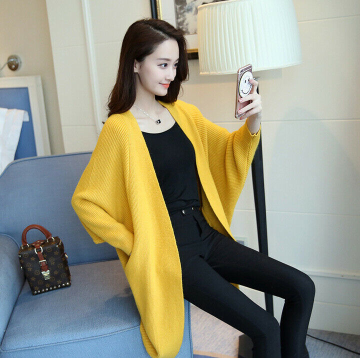Women's Knitwear Long Fluffy Cardigans Coat Baggy Knitted Bat Long Sleeve Sweater Jumper Tops Knitted Outwear Pocket Jacket