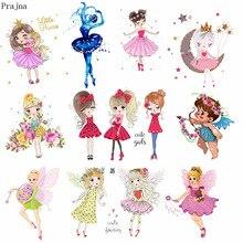Prajna нашивка для девочек с героями мультфильмов, термонаклейки для одежды в полоску, термонаклейки, железная аппликация на одежду, сделай сам