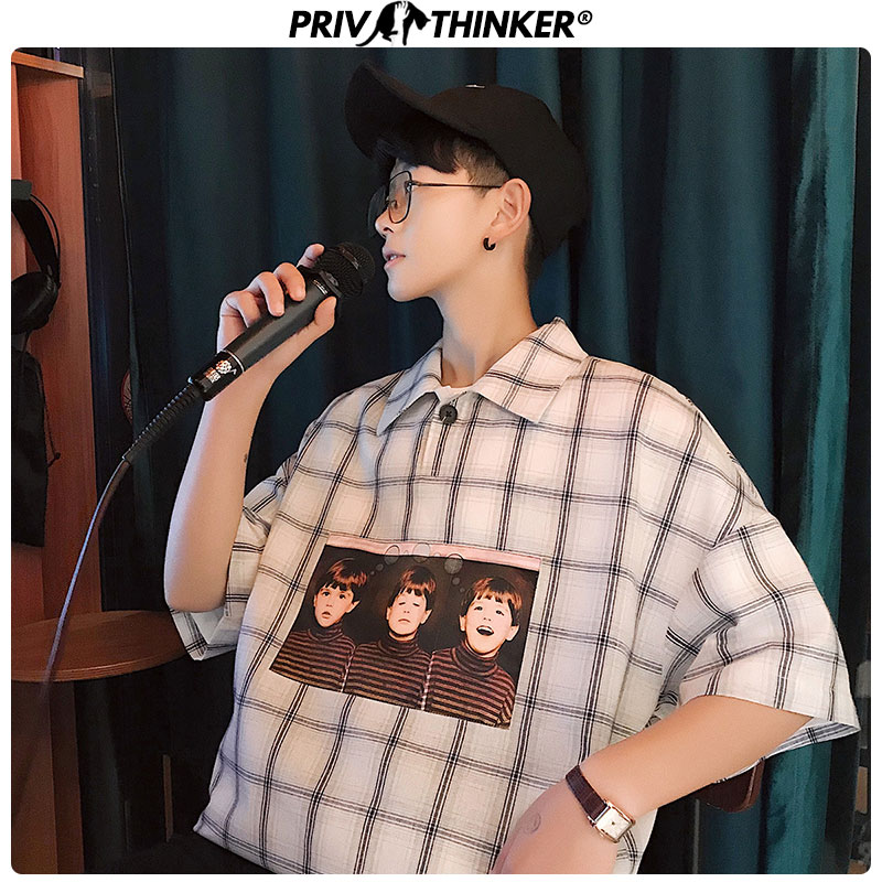 Privathinker 2020 Summer Plaid Men's T-shirt Turn-down Collar Fashions Tshirts Men Oversize Male Harajuku High Quality T Shirt