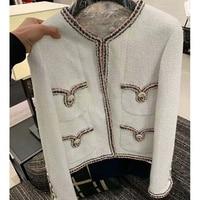 2020 Cosmicchic Spring Women White Tweed Jacket Pocket Chain Female Short Coat High Quality Elegant Fashion Runway Jackets