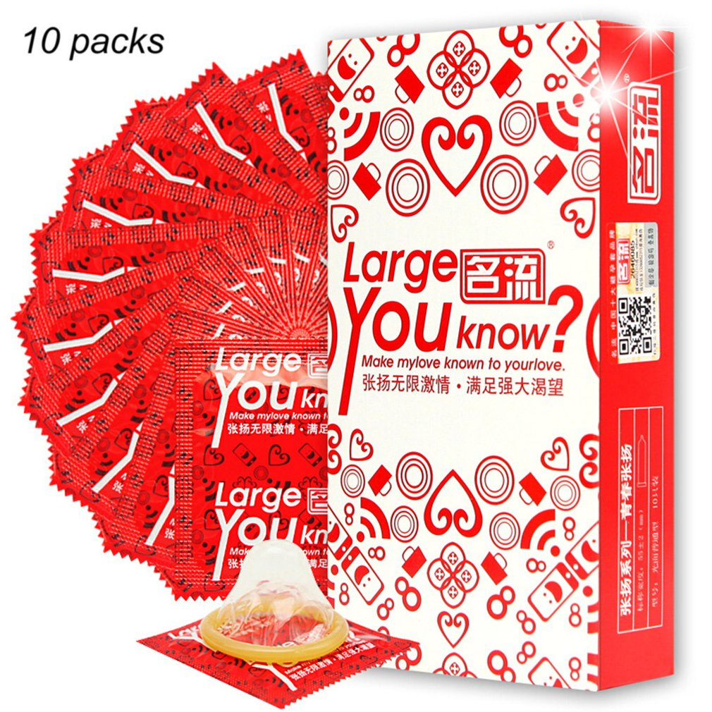 10pcs Premium Natural Latex Condoms 55mm Large Size Ultra Thin Penis Sleeve Condoms Contraception Adult Sex Toys For Men
