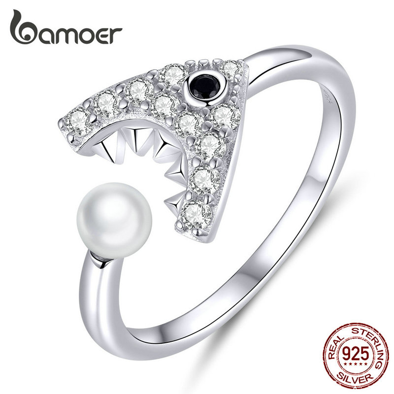 bamoer Sterling Silver 925 Shark with Pearl Open Ajustable Finger Rings Female Jewelry Accessories Bijoux 2019 New SCR615