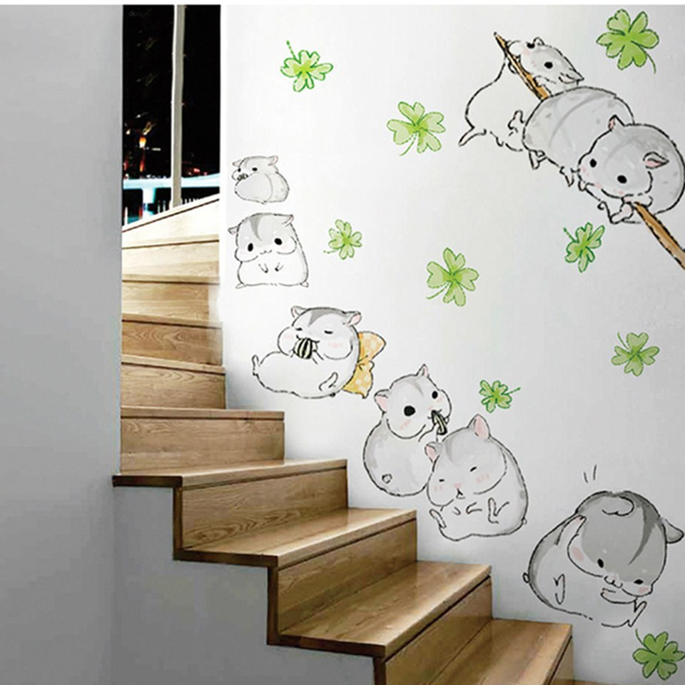 Cute Little Hamsters Wall Stickers For