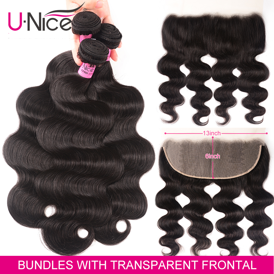 Unice Hair 13x6 Transparent Lace Frontal With Bundles Brazilian Body Wave Human Hair Bundles With Closure Pre Plucked Remy Hair