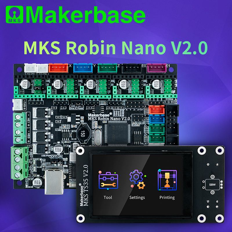 Makerbase MKS Robin NANO V2.0 32Bitควบคุม 3Dชิ้นส่วนเครื่องพิมพ์ฐานMarlin2.x 3.5 หน้าจอสัมผัสTFT Preview GCode