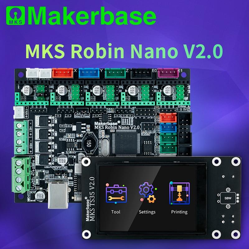 Makerbase mks robin nano v2.0, placa de controle 32bit para impressora 3d base em marlin2.x 3.5 tft, tela touch screen de visualização gcódigo