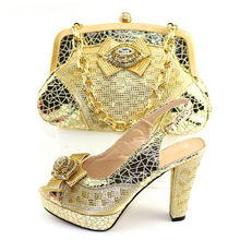 Amazing gold wedding/party African high heel pump shoes with bag sets CR2107, heel height 11.3cm(China)