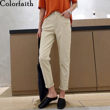 Women Jeans High-Waist-Pants Loose Colorfaith Korean-Style Vintage Denim Ladies Autumn